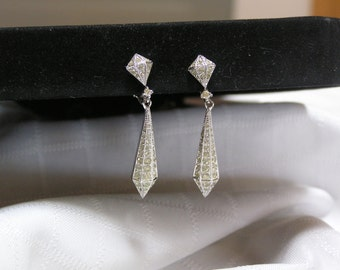 Vintage Panetta dangling rhinestone earrings