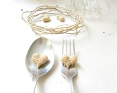 Miniature rustic hearts, wedding table decoration ,natural , home decor, set of 2