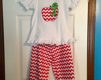 Red Chevron Worm in a Apple outfit size 2T up to size 14