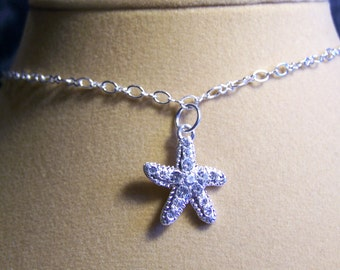 Starfish Anklet Silver Crystal Pave