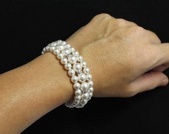 Swarovski Multi strand Pearl Bridal Bracelet, Wedding Jewelry, Bridal Jewelry, Bridesmaid Bracelet, Pearl Bridal Bracelet Cuff,