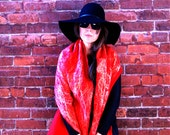 Red Shawl Red Scarf Red Wool Scarf Red Golden Shawl Red Wool Wrap Stylish Fashion Shawl - elenasfelting