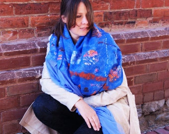 Blue Scarf Blue Shawl Blue Wool Shawl Blue Wrap Blue Fashion Wrap Blue Evening Shawl Blue Nuno Felt Shawl