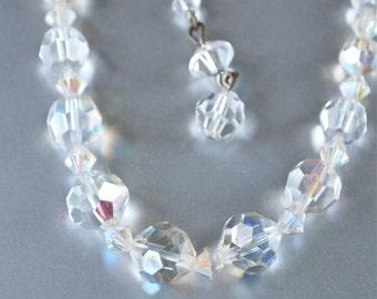 1950's Czech Bridal Wedding Aurora Borealis Faceted Crystal Bead Necklace Choker