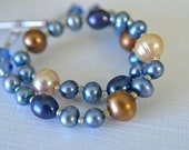 "Blue and Sand Brown Pearl Bracelet Plus Size Bracelet ""Sand and Sea"" Handmade in Maine Long Bracelet"