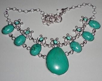 "Blue Turquoise, Green Amethyst gemstones, SOLID Sterling Silver Necklace, solid .925 Sterling Silver, 20"" adjustable"