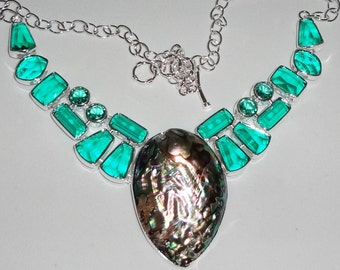 "Abalone Shell, Green Amethyst gemstones,  solid Sterling Silver Necklace, 21"" adjustable"