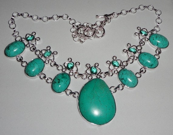 """Blue Turquoise, Green Amethyst Necklace, solid .925 Sterling Silver, 66 grams, 20"""" adjustable"""
