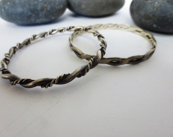 Set of Two Silver Bracelets Vintage 1980s