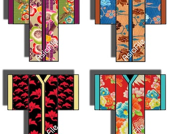 Digital Collage Sheet -- Kimonos -- Original Designs -- Japanese -- Asian Art -- Embellishments -- Card Making  CS 23