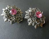 Vintage Earrings 50s Pink Rhinestones Silver Filigree Clip On  50s Jewelry
