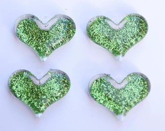 38mm Green Glitter Heart Pendant for Chunky Necklace 4 ct