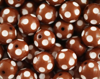 Brown Polka Dot 20mm Chunky Beads 10 ct for Bubblegum Necklace - 20mm Beads