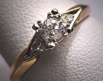 Antique Diamond Wedding Ring Vintage Art Deco 1920 Euro