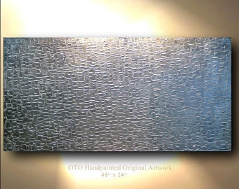 Abstract Painting Metallic Silver Extra Small & Large 3 Panel Abstract Art Canvas Hand painted grey oil Wall Decor Artwork Impasto Textured