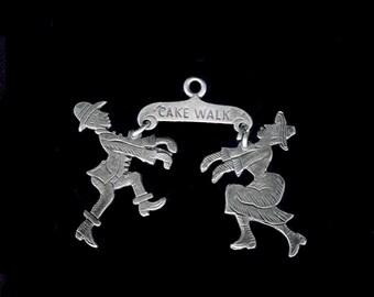 """xxx Rare  Antique """"CAKE WALK"""" Dancers Danglers CHARM Silver Charm Fob European"""