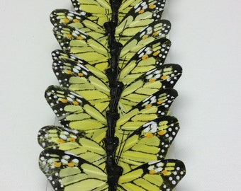 Feather Butterflies -12 Monarch Butterfly Embellishments in LIME YELLOW and Black - Artificial Butterflies