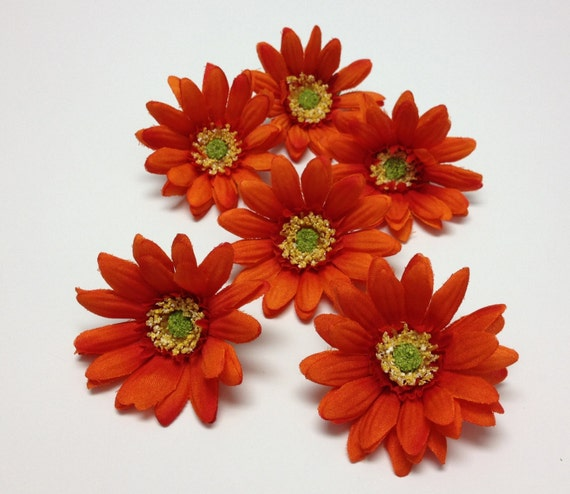 Silk Flowers - Six Artificial Daisies in Orange Spice - 3 Inches - Artificial Flowers