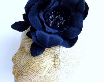 Corduroy Fabric Flower - Navy