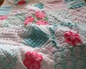 Vintage Chenille Quilt-Aqua and Pink-Aqua or Pink Backing
