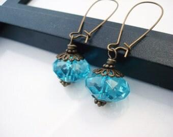 Aqua Drop Earrings, Something Blue Bridal Earrings, Aqua Drop