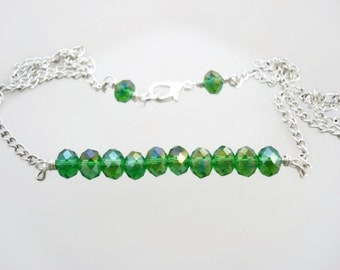Green Necklace, Green Bar Necklace, Green Crystal Necklace, Kelly Green, Modern Everyday Jewelry