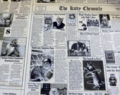 Newspaper Fabric  Kitty News Cotton Material Black and White Newsprint fabric TImeless Treasures
