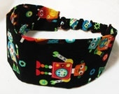 Reversible Wide Fabric Headband Colorful Adorable Robots on Black Background Women Teens