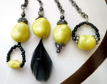 Yellow Black Ceiling Fan/ Light Pulls, unique fan pulls, handcrafted by gviolet, The Rock N Roll Collection