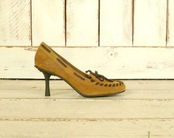Brown suede leather moccasin high heel vintage shoes/Dr. Scholls heels