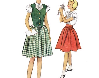 1950s Girl's Weskit, Blouse and Skirt Pattern - McCall 8598- Girl's 50s Weskit, Skirt and Blouse Sewing Pattern 8598/ Size 6