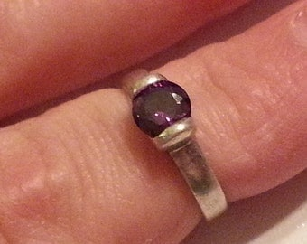 Vintage Hand Made Sterling Silver and Amethyst Faceted Ring Size 7 925 1990 Ladies Accessory