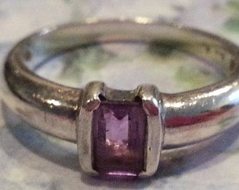 Vintage Sterling Silver and Amethyst Faceted Ring Rectangular Stone Size 8 925 1990 Ladies Accessory
