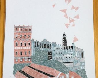 Edinburgh Calton Hill Illustration Print