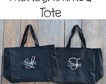 Set of three monogrammed totes