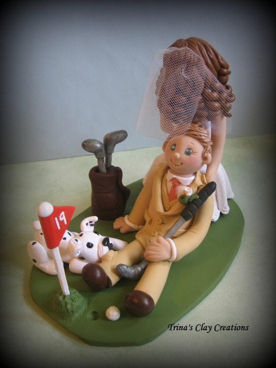 Wedding Cake Topper, Bride Dragging Groom, Custom, Personalized, Polymer Clay, Dog Dragging Groom, Wedding or Anniversary Keepsake