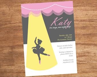 Dance Recital Ballet Ballerina Party Invitation