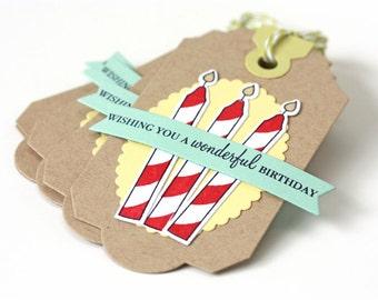 Wishing You a Wonderful Birthday - Handmade Gift Tags