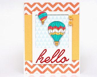 Hello Friend - Friendship - Handmade Card - Birthday - Card for Teen - Card for Boys - Card for Girls - Modern Chevrons