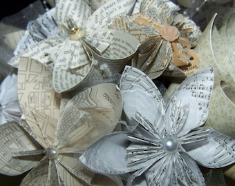 Hymnal Page Kusudama Origami Paper Flower Bouquet