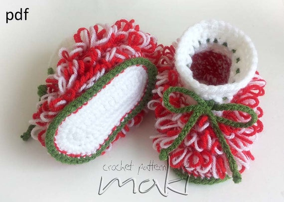 Crochet Baby Santa Booties Pattern : Christmas crochet pattern Crochet baby booties by MakiCrochet