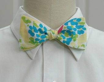 Men's Bow Tie, yellow blue Blue Eyed Girl Lilly print, floral bow tie, wedding bow tie, groom bow tie, groomsmen gift, Easter bow tie,