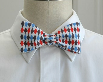 Men's Bow Tie in red, white and blues harlequin design (self-tie)