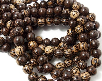 Patikan Wood Bead, 10mm, Old Palmwood, Round, Large, Natural Wood Beads, 16 Inch Strand, 40pcs - ID 1674
