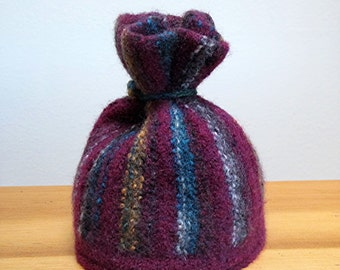 Winter sale - Girls Burgundy Stripe Felted Hat with Top Knot