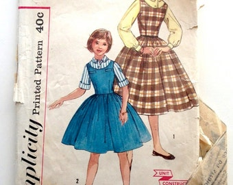 50s Simplicity 2204 Girls Jumper Dress with Full Gathered Skirt, Blouse Size 8 Bust 26
