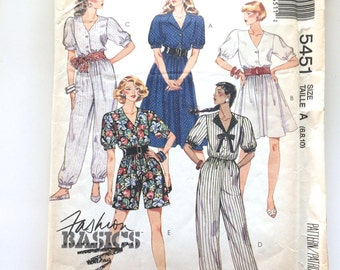 90s McCalls 5451 Jumpsuit Romper Wide Leg Shorts or Tapered Pants or Dress Size 6 8 Bust 30 31