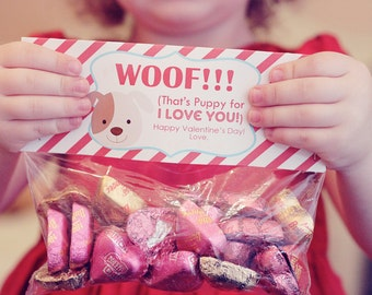 INSTANT Download-Valentine's Day Treat Bag Tags: PUPPY-Printable PDF