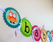Owl Baby Shower Banner - party hoot owl collection