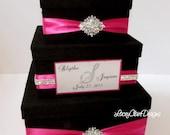 Wedding Gift Box, Bling Card Box, Rhinestone Money Holder  - Black and Fuchsia Custom Made